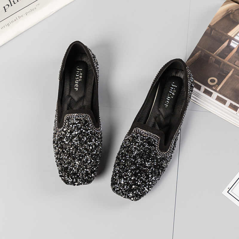 New Women Crysta Sequined Cloth Flats Shoes Fashion High Quality Basic  Solid Square Toe Rubber Sole f78950f52458