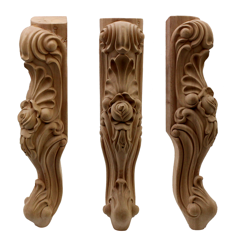 VZLX Newly Woodcarving Cabinet Unpainted Wooden Carved Table Foot Miniatures Home Decor Furniture Bed Leg Accessory