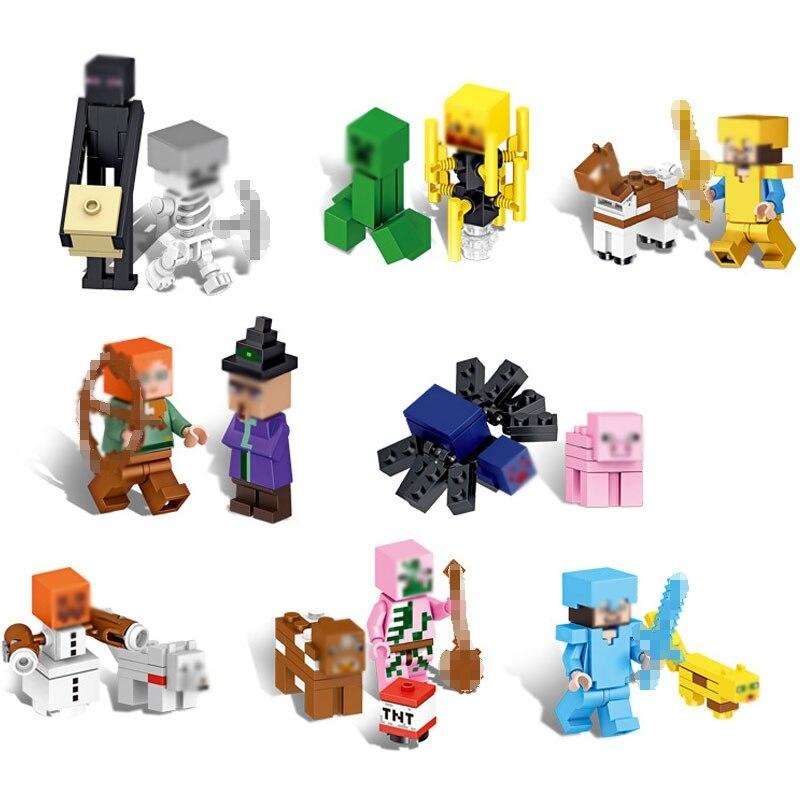 16 stücke Heißer Verkauf Minecraft Bausteine Action Figur Mit Waffe Aufhänger Steve 3D Modell Klassische Sammlung Spielzeug Für Kinder # E