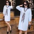 New Fashion Women Dresses Plus Size XL-5XL Sexy Shirt Dress Women Long Sleeve White Dress Party Dress Vestidos FB153