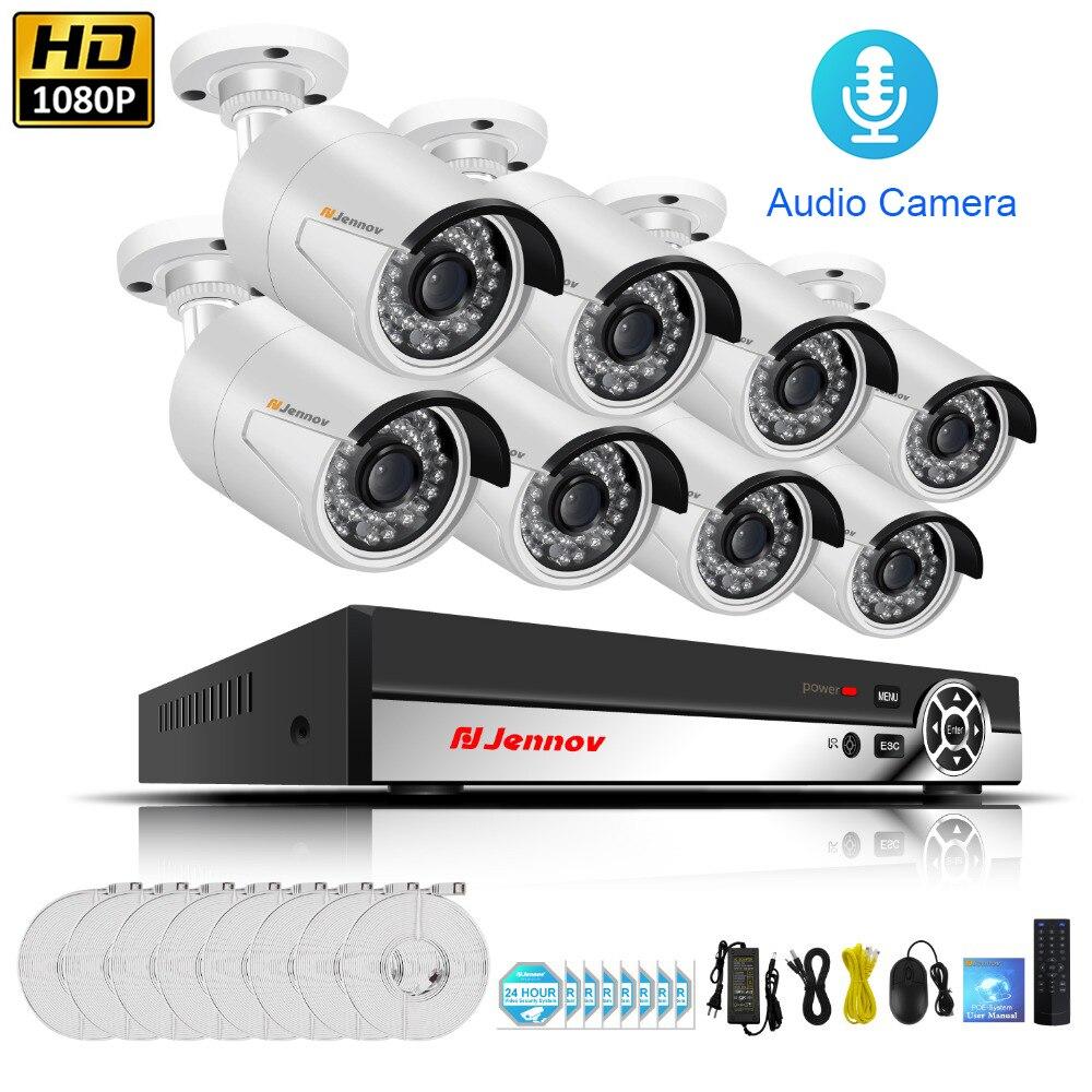 HD POE Главная Беспроводной видеонаблюдения Камера Системы с NVR комплект облачного хранения аудио запись 1080 P 2MP видеонаблюдения наборы P2P