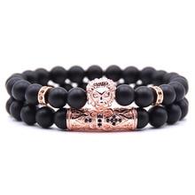 HONEYYIYI 2pcs/set 4 color Couple Bracelets & Bangles Pave CZ Lion Charm Bracelet For Men Jewelry pulseras bileklik Pulseira