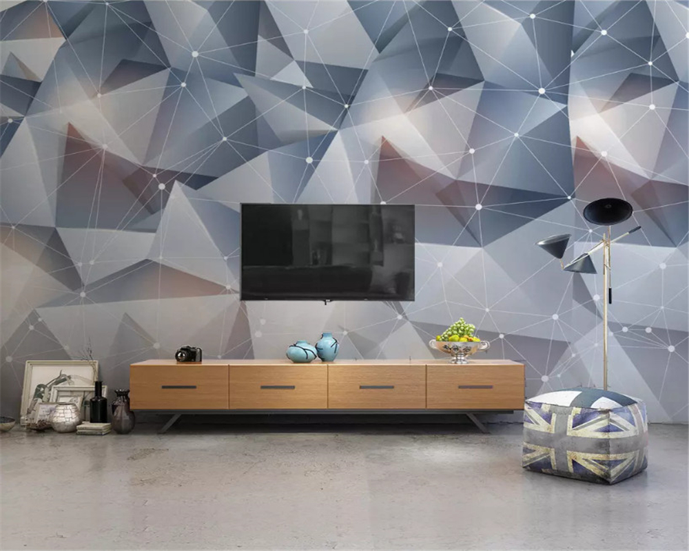 beibehang Custom size wallpaper solid triangle modern minimalist classic background papel de parede 3d wall papers home decor in Wallpapers from Home Improvement