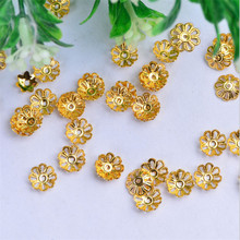 50pcs/lot gold silver spacer flower torus beads cap for earrings necklace material diy copper charms jewelry making accossories
