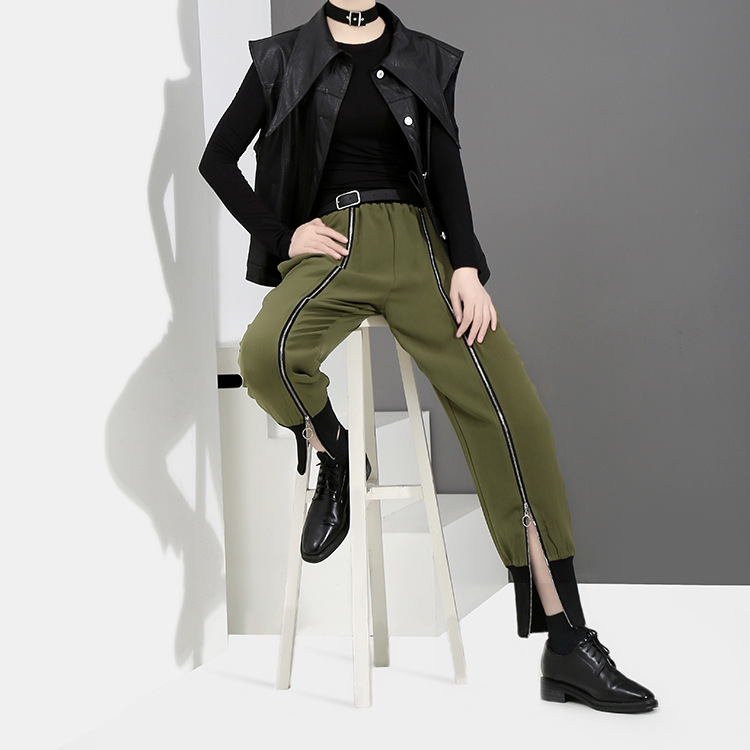 [EAM] 2018 new spring Zipper Decoration high waist solid color black green loose pants women trousers fashion all-match JC58801 5