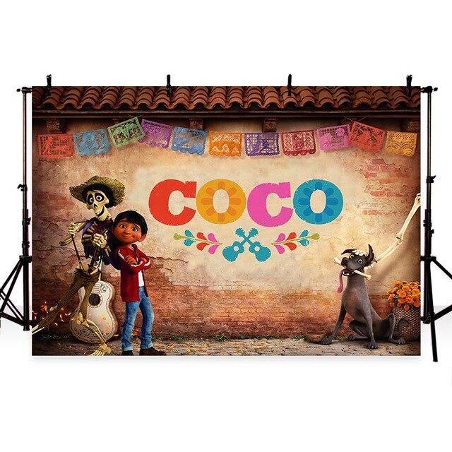 MEHOFOTO Coco Birthday photo backdrops Children Party Banner Custom photography backdrops props Halloween Studio Backdrops