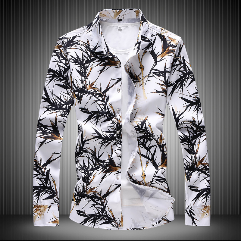 Mens Dress Shirts Long-sleeved Printed Slim Fit Man Tops Large Size 7XL Fashion Business Leisure Shirt Men