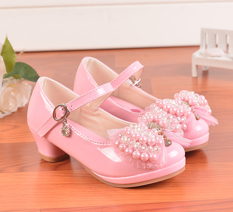 2016 Children Princess Sandals Kids S Wedding Shoes High Heels Dress Bowknot Party For Pink Leather In From