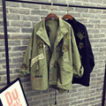 2017 Весна осень женщины базовая пальто вышивка случайные свободные завышение короткие заклепки женский уличная тренчи пальто Корея
