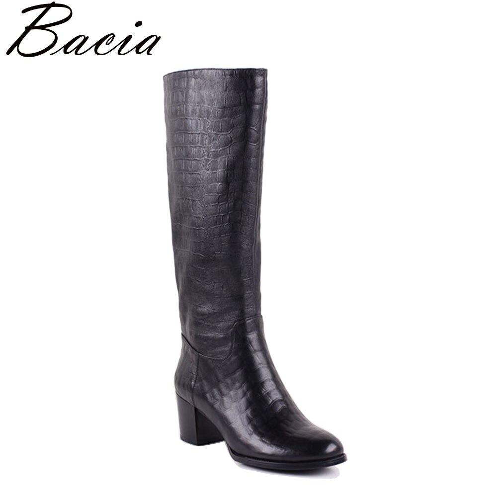 Bacia Crocodile impression En Peau De Mouton Long Boot Synthétique peluche Courte à l'intérieur Femmes En Cuir Véritable à Hauteur Du Genou Bottes Taille 35- 41 MC012
