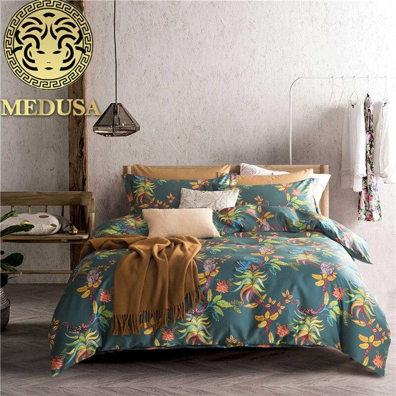 Medusa Egyptian cotton sateen pine flower bedding set king queen size  4pcs bed linen setMedusa Egyptian cotton sateen pine flower bedding set king queen size  4pcs bed linen set