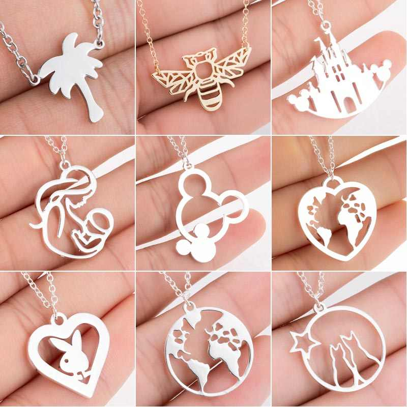 Hfarich 2019 New Geometric Animal Necklaces Cartoon Mouse Necklace for Women Stainless Steel Charm Jewelry Mother's Day Gift
