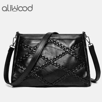 aliwood Genuine Leather Women's Crossbody Bags Ladies Shoulder Messenger Bag Designer Sheepskin Weave Handbags Bolsas Feminina