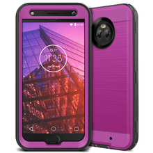 GrandEver Luxury 2 in 1 Hard Case For Moto X4 Cases Brushed Mteal Texture Plain 360 Full Protect PC TPU Cover