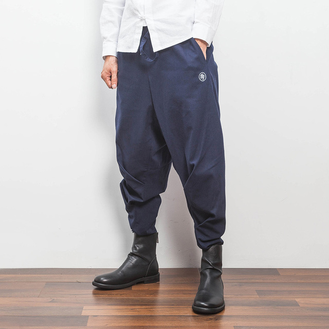 2017 new china style mens harem pant spring loose linen causal pants street hip hop punk sweatpant male trousers K37