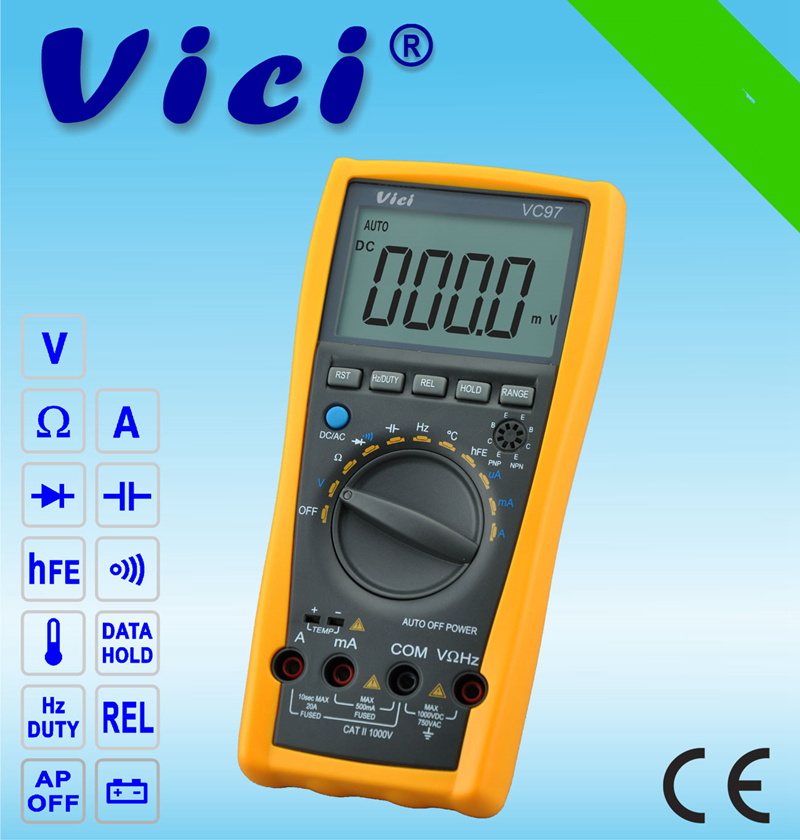 Brand VICI VC97 LCD Digital Multimeter Auto Range DMM AC DC Voltmeter Capacitance Resistance Meter Better Multimeters With Bag