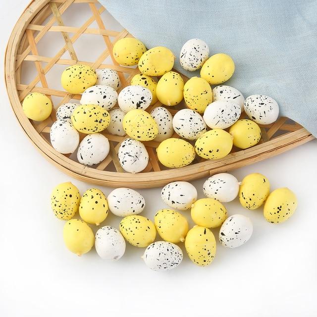 10 sztuk 2.5cm wesołych świąt wielkanocnych jaj dekoracji sztuczny kwiat dla domu Party DIY Craft dzieci prezent Favor wielkanocne materiały dekoracyjne