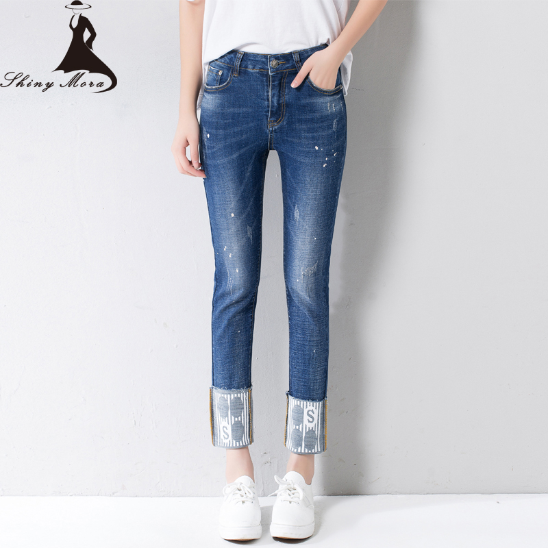 ФОТО Blue Ripped Jeans For Women 2017 New Arrival Spring and Summer Female Skinny Pants Cuffs Denim Slim Trousers Girls Pencil Jeans