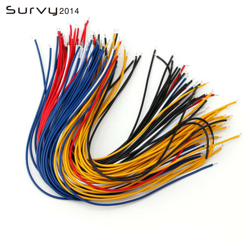 100pc x 50mm Breadboard Jumper Jump Cable Wire Tinned Tin Plated Copper Blk Red