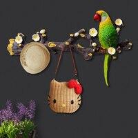 3D Parrot Resin Hook Creative Home Room Decorative Coathook Modern Multicolor Bird Wall Hanging House Living Room Door Pothook