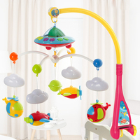 Educational Toy Toy Bell With Projector Holder Rotate Stroller Cute DIY Educational Infant Baby Mobile Music Box Home