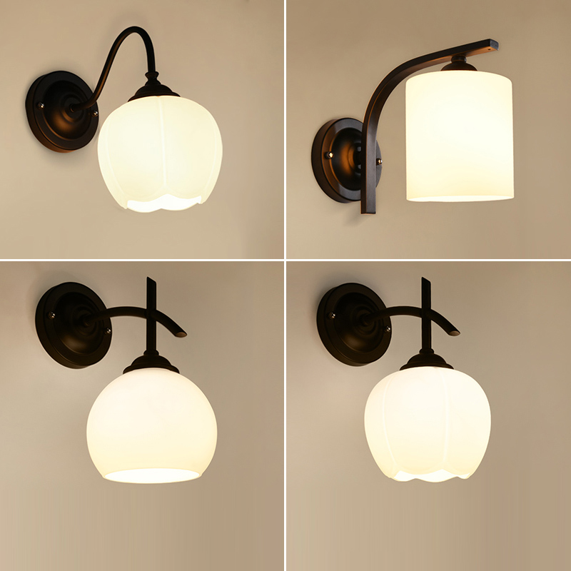 American Country Retro Wall Lights Bedroom Study Walls Balcony Lamp Bedside  Lamp Led Bathroom Wall Lamp Glass Lamps