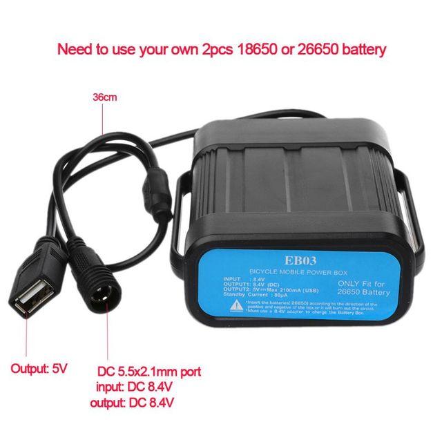 Taşınabilir Su Geçirmez 2*26650 bisiklet ışığı Pil Kutusu Bisiklet Lambası Harici Güç Pil Tutucu saklama kutusu + dönüştürücü