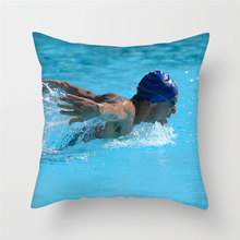 Fuwatacchi Swimming Sports Cushion Cover Breaststrock Printed Pillow Cover for Home Sofa Decoration Houseware Square Pillowcase