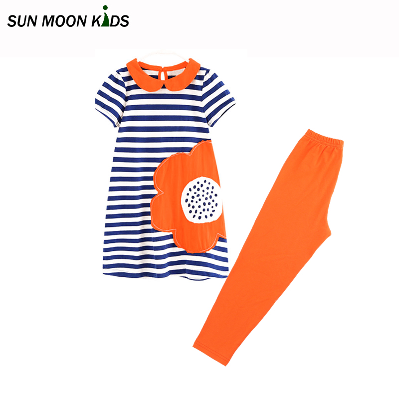 Sun Moon Kids girl clothes set fashion baby girls clothing 2017 summer cartoon girls dress + leggings children costume for girls fashion kids baby girl dress clothes grey sweater top with dresses costume cotton children clothing girls set 2 pcs 2 7 years
