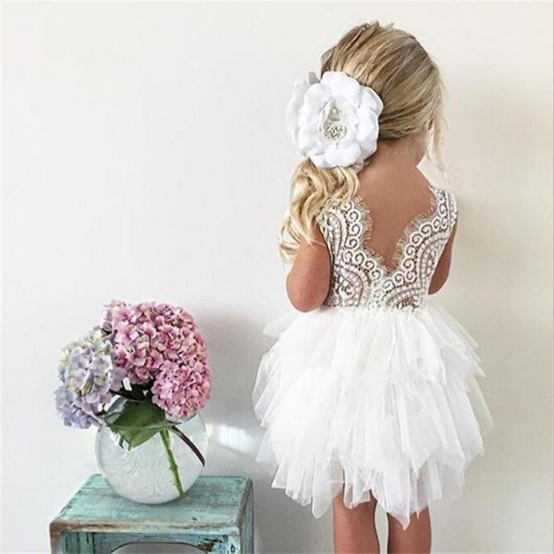 Baby Fluffy Cake Smash Dress Toddler Clothing 1 3 Year Birthday Infant Party Costume Beading Floral Backless Baby Baptism Dress