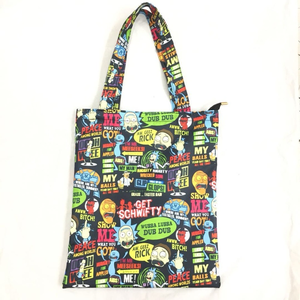 shopping bag cartoon bags anime cute morty rick boy canvas novelty tote nylon totes gifts happy shopper
