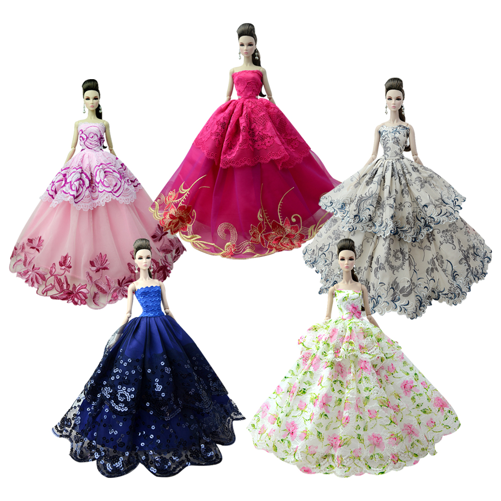 NK  Randomly 3 Pcs/Set  Mix Style Doll  Wedding Dress Princess Gown  Noble Party Gown  For Barbie Doll Best Child' Gift