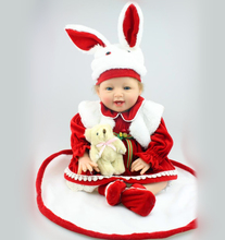 22 inch New Style Soft Vinyl Reborn Baby Doll Girl Toy Christmas gift Baby Doll in Lovely Rabbit Red Dress