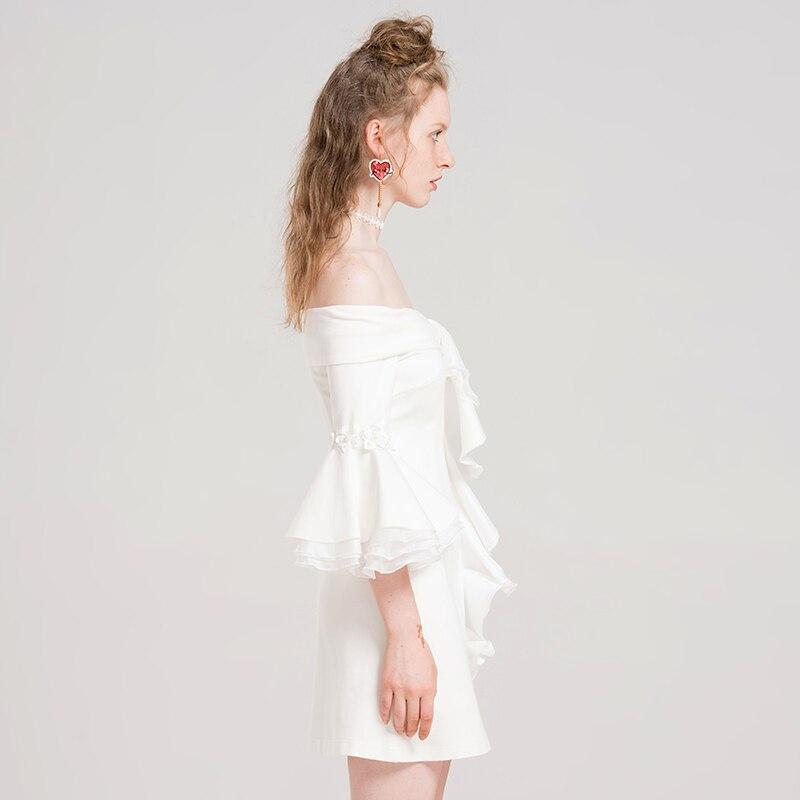 62403 Collo Del Ruffles Chiarore 2019 Sexy Bianco Aderente Ultime Molla Spalla Yigelila Vestito Della Donne Largo Slash Modo Manicotto Di Mini Rpz7xxqgwa