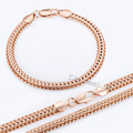 6mm Rose Gold Filled Necklace Bracelet Set Braided Foxtail Link Chain Womens Girls Boys Mens Chain Hot Sale LGS83