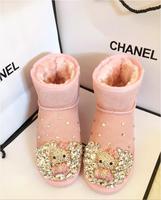 2019 anti season handmade snow boots female rhinestones cute hello kitty boots with diamond leather short tube
