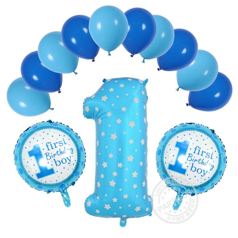 verjaardag jongen 1 jaar 13 stks/partij 1 Jaar Oude Baby Douche Verjaardag Helium Ballonnen  verjaardag jongen 1 jaar