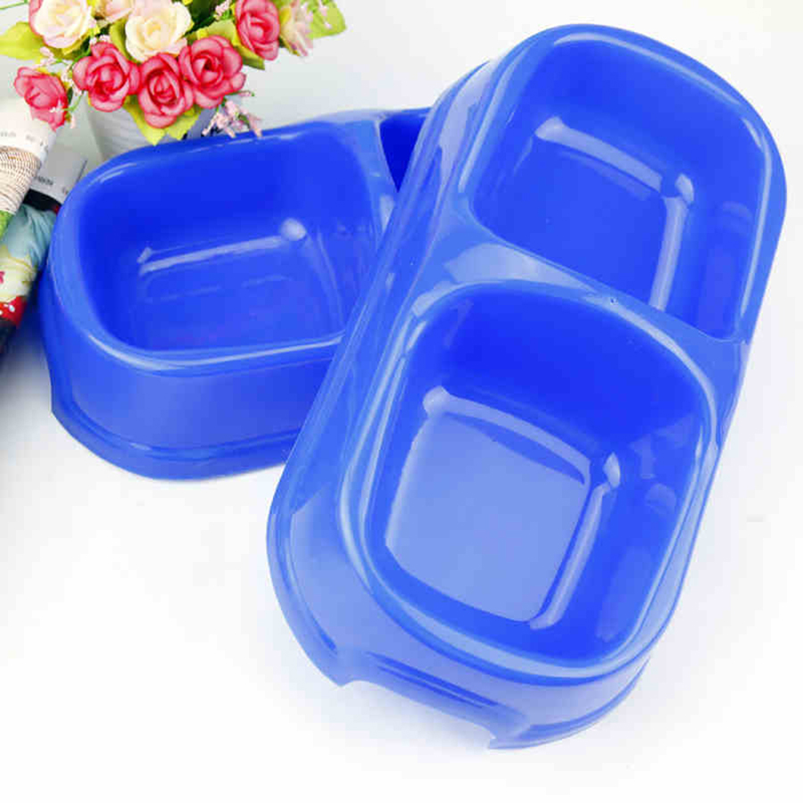 Dogs Bowl Plastic Double Grid Cats Food Plate Silicone Bowl Comederos Para Perros Puppy Bottle Pots Pets Training Tools 50Z0463