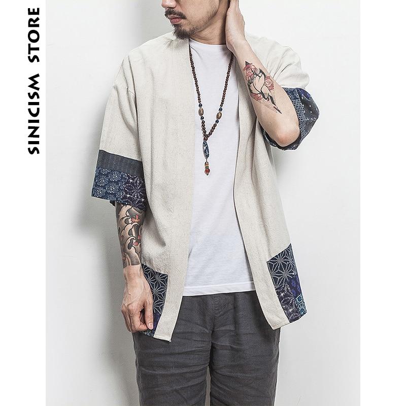 Sinicism Kimono Shirt Men Chinese Streetwear Vintage Kimono Shirt Men Linen Kimono Cardigan Men Shirt Plus Size 5XL 2019
