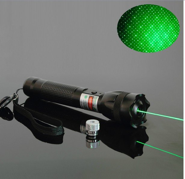 OXLasers OX-GL1 Focusable 200mW green laser pointer flashlight with key and star cap + twinkle SOS function free shipping