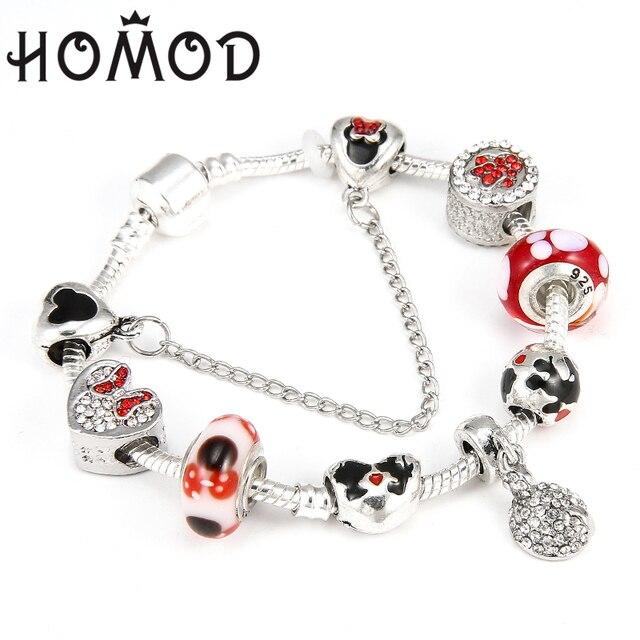 D Animal Mickey Charm Bracelets Bangle For Women Fashion Original Diy Red Minnie Mouse Pan