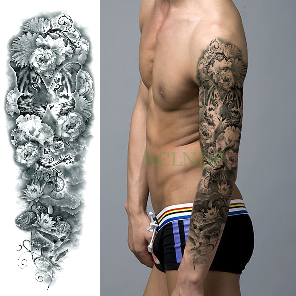 Temporary Tattoo Sticker Large Size Body Art Sketch Flower: Waterproof Temporary Tattoo Sticker Tiger Lotus Flower