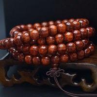 MOROW Fashion Womens Mens Natural Pterocarpus Red Sandalwood Round Prayer Buddha Beads Charm Bracelet Jewelry 108 Bead for Gift