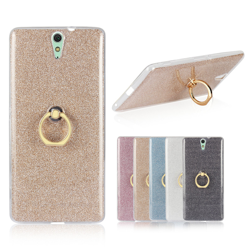 For Sony C5 Ultra Dual Case Shiny Glitter Silicone TPU with Rotate Finger Ring Soft Cover Case for Sony Xperia C5 Ultra E5533