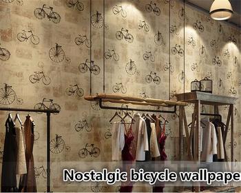 Beibehang tapety 3d nostalgiczne rowerów domu kryty kawy tapety sklep odzieżowy tapety rolki tapety do dekoracji wnętrz tanie i dobre opinie NONE CN (pochodzenie) USD rolka Tapeta z włókna drzewnego TŁOCZONA vintage Papieru tapety Do pokoju starszyzny SALON