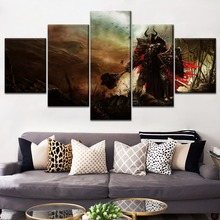 Home Decorative Wall One Set Modular Style 5 Panel Hammer Shield Devil Game 3 Picture On Canvas Printing Type Modern Artwork