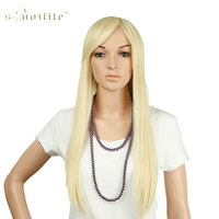 SNOILITE 25 Long Straight 3 4 Full Wigs Synthetic Heat Resistant Clip In Hairpiece Ladies Bleach