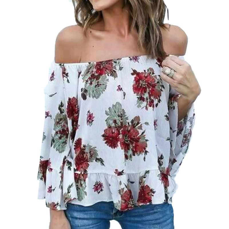 Fashion Summer Women Cold Off Shoulder Loose Bell Sleeve