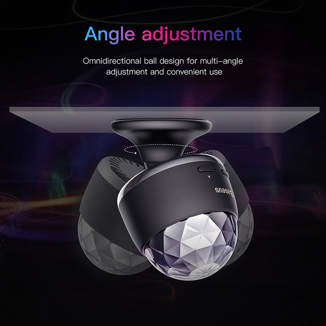Baseus LED RGB Atmosphere Light Auto Interior Inner Car USB Charge Ambient Light DJ Music Sound Sensor Party Karaoke Lights 3