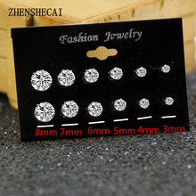 6 Pairs/Pack Brincos Mixed Stud Earrings For Women Crystal Ear Studs Fashion Simulated Pearl Jewelry Wholesale e022